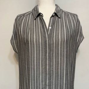 Lucky Brand gray and white striped button down top